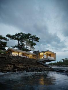 Organic Architecture, Concept Architecture, Architecture Design, Modern Exterior, Exterior Design, Modernisme, Architecture Visualization, Waterfront Homes, Building Design