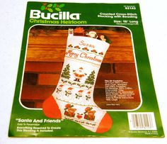 Bucilla Santa & Friends Christmas Stocking Counted Cross Stitch Kit with Beading. $16.00, via Etsy.