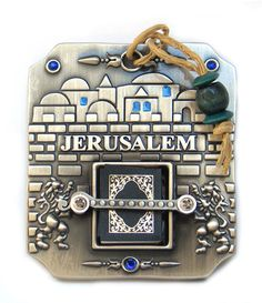 Pewter Book of Psalms holder for hanging with Jerusalem backround.