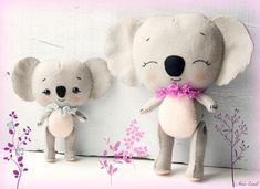 PDF pattern. Koalas: mom and baby. Plush Doll Pattern, Softie Pattern, Soft felt Toy Pattern. $7.91