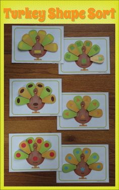 Turkey Shape Sort.... A great Thanksgiving activity for preschool, pre-k, or busy bags