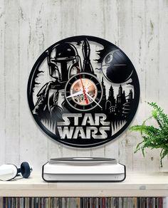 Star Wars vinyl clock. Star Wars wall clock Boba by YoYoShopCo