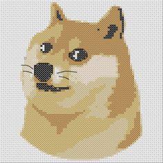 Doge Meme Shiba Inu Small Cross Stitch Pattern 6 Colors Easy PDF Pattern by TheSoftScientist on Etsy https://www.etsy.com/listing/240923644/doge-meme-shiba-inu-small-cross-stitch