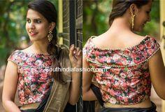 plain saree with floral blouse Saree Jacket Designs, Simple Blouse Designs, Blouse Designs Silk, Designer Blouse Patterns, Bridal Blouse Designs, Floral Print Sarees, Floral Blouse, Printed Blouse, Blouse Models