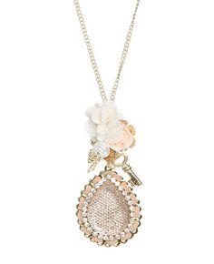 Flower Key Charm Necklace - Jewelry
