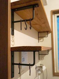 Iron Furniture, Home Decor Furniture, Industrial Furniture, Wood Wall Shelf, Wooden Shelves, Floating Shelves, Diy Closet Shelves, Diy Bedroom Decor, Diy Home Decor