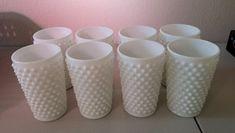 """(8) 5"""" Tall Fenton White Milk Glass Hobnail 8 oz. Tumblers  #Fenton"""