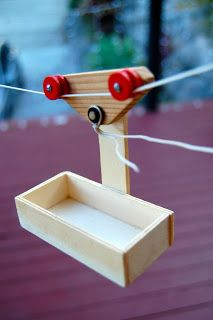 Simple Pulley and Lever Activity for Children. This is going in the back yard from the tree house to the back door... O & F will love it!