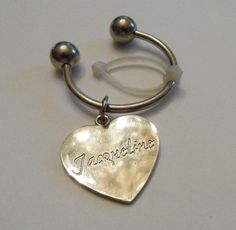 Personalized Engraved Traditional Silvertone Heart Charm Key Ring Jacqueline | eBay