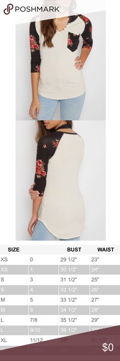 💥SALE💥 Ivory Rose Henley Top ‼️FIRM REDUCED PRICE - NO OFFERS‼️ rose patterned henley tee with 3/4 sleeves. New, with tags. Chrome toned front buttons. Small marking on mid back from storage (see photo 7). Hence the reduced price. Fabric: 62% cotton, 23% rayon, 22% polyester, and 3% spandex. Rue21 Tops