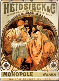 These prints represent the 'very best' of Alphonse Mucha and Art Nouveau. Get an instant Art Nouveau display with Alphonse Mucha. Job Job Each print is presented upon a heavyweight light canvas effect fine art paper. Mucha Art Nouveau, Alphonse Mucha Art, Vintage Advertisements, Vintage Ads, French Vintage, Vintage Labels, Vintage Wine, Retro Ads, French Art
