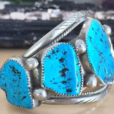Navajo Old Pawn Sterling Silver and Sleeping Beauty Turquoise (five-stone) Cuff Bracelet... This is a WOW vintage cuff!   JOY2THEWORLD... takes 15% off this bluetiful cuff!   sugardrawers.etsy.com