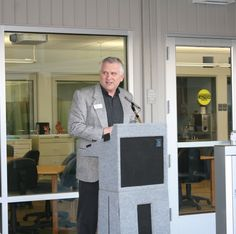 A speaker at Mendocino College's Allied Health Grand Opening Ceremony March 6, 2014