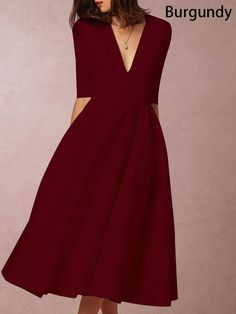 Going out Sexy Half Sleeve Solid Midi Dress Burgundy Midi Dress, Boho Midi Dress, Midi Dresses, Dresser, Half Sleeve Dresses, Party Dresses For Women, Dress First, Lady, Designer