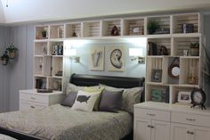 Headboard designs with built-in shelves for small black divan and beds Diy Built In Shelves, Headboard With Shelves, Bed Shelves, Shelves In Bedroom, Bookshelves Built In, Bedroom Storage, Bedroom Wall, Bedroom Decor, Built Ins