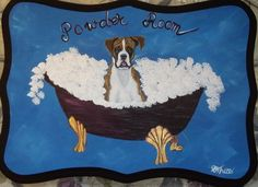 Boxer Dog Custom Painted Powder Room Sign by daniellesoriginals, $27.99