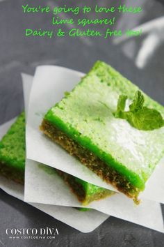 """If you love limes, watch out, these will be a heavenly experience.  My sister-in-law said """"oh my god"""" several times when taking her first bite of these squares :)  This recipe is quite different from a lemon square recipe, not just because of the use of limes instead of lemons, but I also wanted to avoid using tons of eggs so as to reduce the calorie count and level of cholesterol.  As such this recipe includes some corn starch and Stevia.  I've made this recipe several ways (vegan, GF)"""