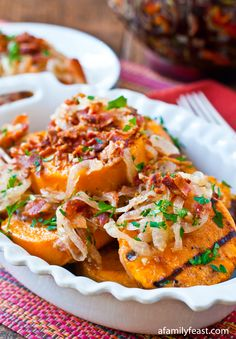 Grilled Sweet Potato Salad with Sweet and Sour Bacon Dressing - A delicious way to eat sweet potatoes without turning on the oven!  Great for summertime dinners.