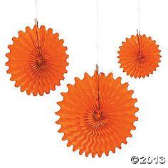 Orange Tissue Hanging Fans $10.50 per dozen