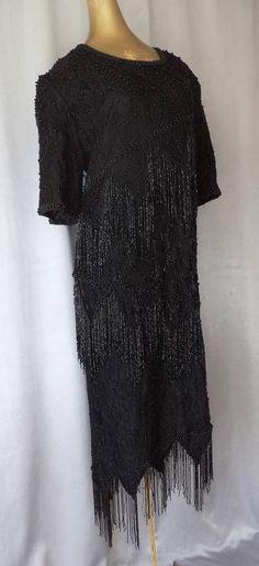FRINGED FLAPPER BEADED BLACK LACE Vintage 80s DECO COCKTAIL TROPHY DRESS -  XL db1a290d8