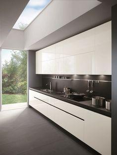 dark floor, dark benchtop, dark splashback, white cupboards