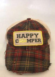 Judith March Happy Camper Plaid Trucker Hat 930H-HAPPYCAMPER