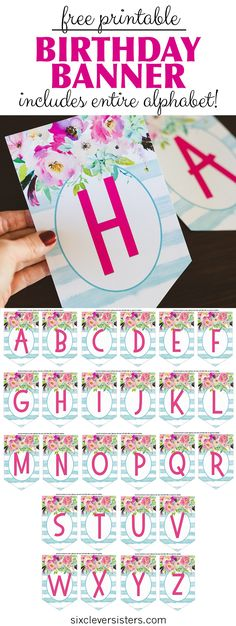 Free Printable Birthday Banner - Six Clever Sisters within Diy Birthday Banner Template - Sample Professional Template Happy Birthday Banner Printable, Birthday Banner Template, Happy Birthday Banners, Birthday Diy, Free Printable Banner Letters, Printable Party, Birthday Ideas, Diy Letters, Birthday Design