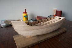 Finished with first layer of planks Models, Model Ships, Santa Maria, Bassinet, Accent Chairs, Bed, Planks, Furniture, Home Decor