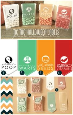 "@Janielle Fernandes Fernandes Martinez Montalvo the ""ghost poop"" one made me lol! Join this pinning party for ideas & freebies!  FREE PRINTABLE Tic Tac Halloween Label"
