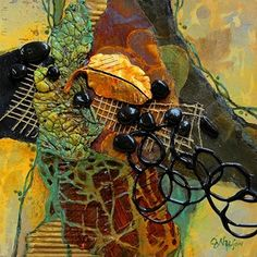 First to Fall, 072615 by Carol Nelson mixed media ~ 8 x 8
