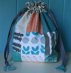 drawstring patch bags with the 'Bella' fabric line