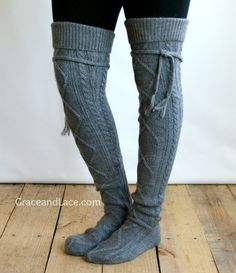 Alpine Thigh High Slouch Sock - Mid Grey thick cable knit socks with fold over cuff and tassel tie Slouch Socks, Cable Knit Socks, Boot Socks, Sock Leggings, Tight Leggings, Grace And Lace, Creative Shoes, Types Of Fashion Styles, Star Fashion