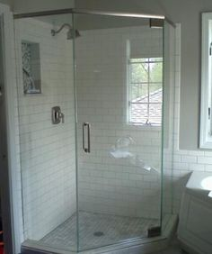 Homestead | Gray tile floors, Subway tile showers and Glass shower ...