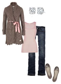 """""""Fall in Pink"""" by littlemomentofpeace ❤ liked on Polyvore featuring American Eagle Outfitters, American Vintage, Odd Molly, Tory Burch and Harry Winston"""
