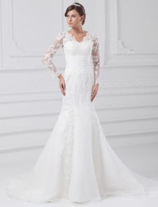 White Mermaid V-Neck Lace Bridal Wedding Dress. Get unbelievable discounts up to 60% Off at Milanoo using Coupon & Promo Codes.