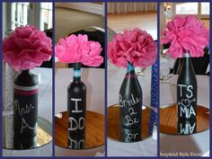 Bridal shower #centerpiece cute idea for wine theme with old wine bottles