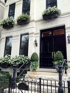 window boxes, potted boxwood flanking black doors... classic, traditional, and FABULOUS