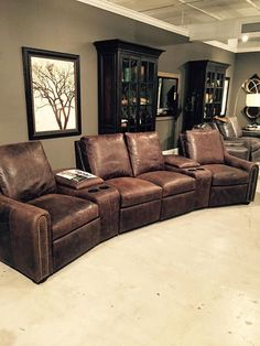 Take a look at this #theaterseating for your home's #mediaroom! Made by #BradingtonYoung & shown in a fabulous #distressedleather. Perfect for the #mancave! Also, available in many other #leather choices and configurations. Let our #interiordesigner Linda Caruso guide you through the process in #customizing your #furniture!  #ManCaveFurniture #LuxuryFurniture #LeatherFurniture #TheaterFurniture For more information please visit www.WHLuxe.com