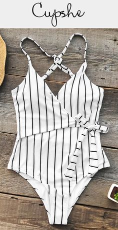 Timeless stripe design! This one-piece features unique tie at waist and cross at back, easily provides a great fit and fashion look. Send out your glamour from poolside to the beach! Free shipping & Shop now!