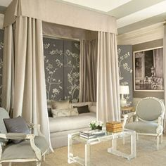 Bedroom in The Great House at Greystone Estate. Design by Mary McDonald. Home Design, Design Blog, Design Ideas, Design Inspiration, Style At Home, Mary Mcdonald, French Living Rooms, Acrylic Furniture, Woman Bedroom