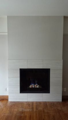 Custom Tile Modern Fireplace Gas
