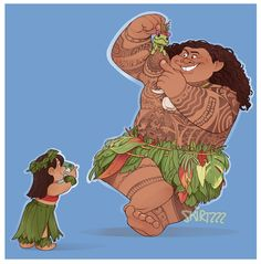@Skirtzzz    A Lilo and Stitch/Moana crossover. These were all part of a really big piece but I'm just not happy with any of it Didn't want to waste em'