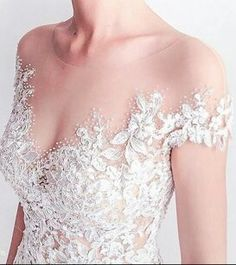 Beaded #lace #weddingdresses with off the shoulder illusion necklines can be customized at www.dariuscordell.com
