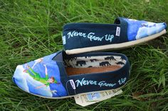 Peter Pan Original Custom Acrylic Painting for Toms/Canvas Shoes. Red Toms, Black Toms, Painted Toms, Hand Painted Shoes, Toms Canvas Shoes, Toms Crochet, Toms Boots, Toms Shoes Outlet, Disney Toms