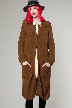 Vintage 90s Brown Knit Cardigan Sweater #90s #fashion #thriftedandmodern #pinkhair