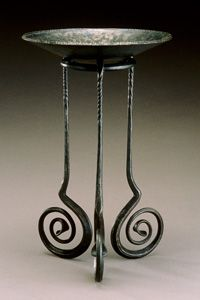 """Paige Hamilton Davis, """"Bowl on Stand...;"""" Paige will teach Blacksmithing and Metalsmithing Basics Plus at Penland, July 19-Aug 4, 2015. More info: http://penland.org/classes/summer/summer_session_5.html"""