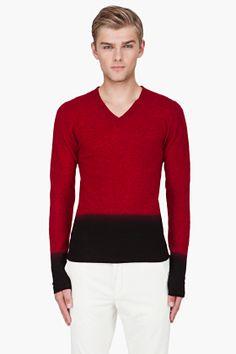 Ann Demeulemeester Red Deep Dyed Morayema Sweater for Men   SSENSE
