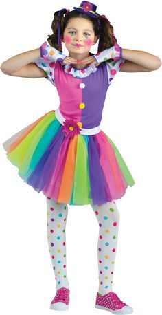 A very cute and colorful clown costume! Multi-colored dress with rainbow tutu, polka dot mitts, clown hat, and white tights with multi-colored polka dots. Shoes and makeup not included. Small child size fits sizes 4-6.