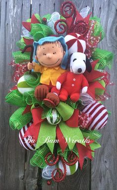 Snoopy Christmas Wreath Charlie Brown Christmas by BaBamWreaths
