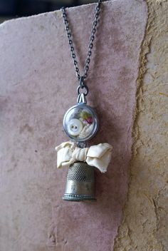 Mixed Media Vintage Thimble Watch Case Charm Pendant Necklace